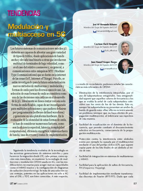 Modulación y multiacceso en 5G