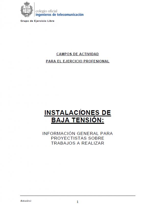 Guía para la redacción de trabajos sobre Instalaciones de Baja Tensión. (Año publicación: 2009)