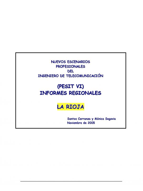 PESIT VI La Rioja. (Año publicación: 2005)