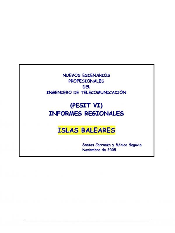 PESIT VI Baleares. (Año publicación: 2005)