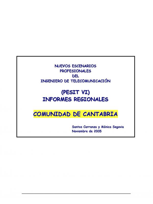 PESIT VI Cantabria. (Año publicación: 2005)
