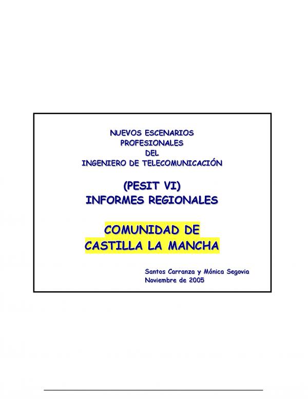 PESIT VI Castilla La Mancha. (Año publicación: 2005)