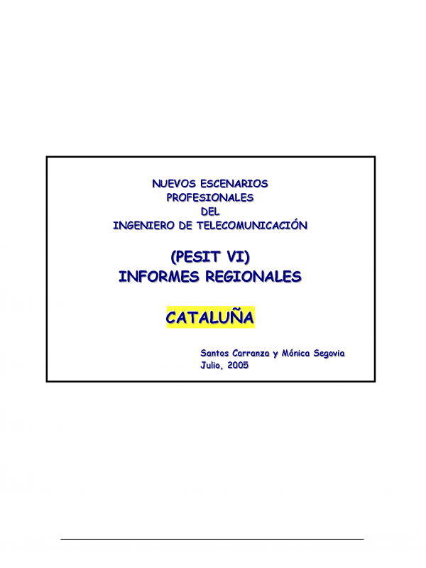 PESIT VI Cataluña. (Año publicación: 2005)