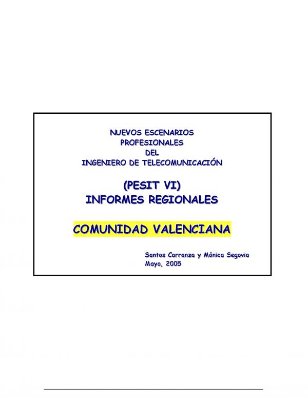 PESIT VI Comunidad Valenciana. (Año publicación: 2005)