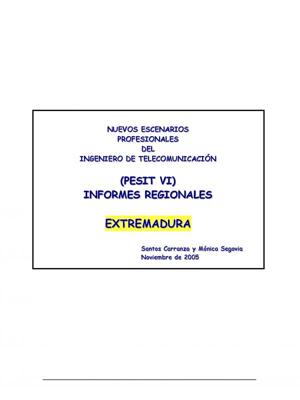 PESIT VI Extremadura. (Año publicación: 2005)