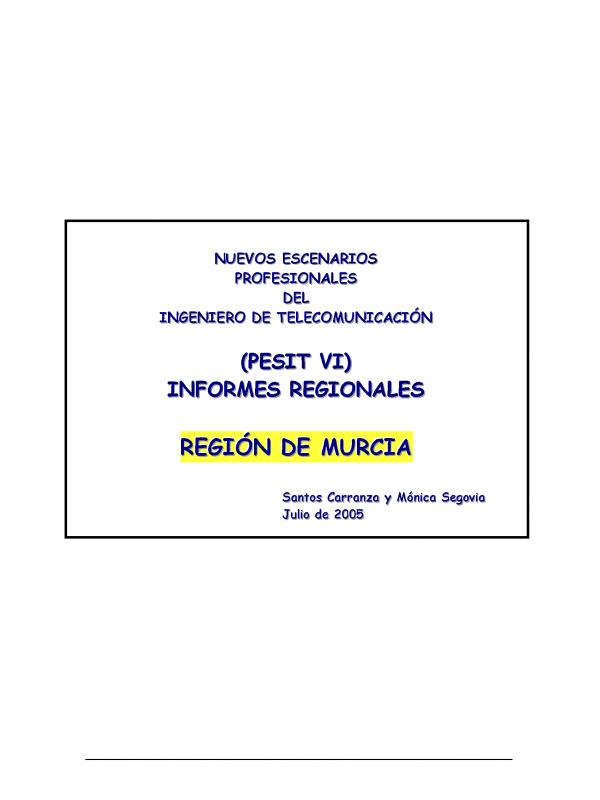 PESIT  VI Región de Murcia. (Año publicación: 2005)